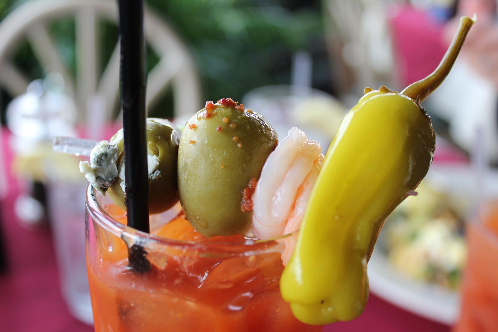 Bloody Mary with Pepper and Shrimp