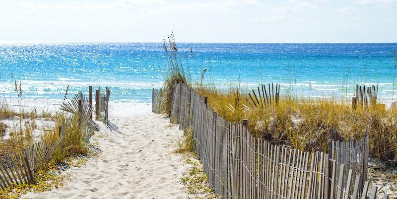 destin florida beach walkway with wood fence protecting dunes