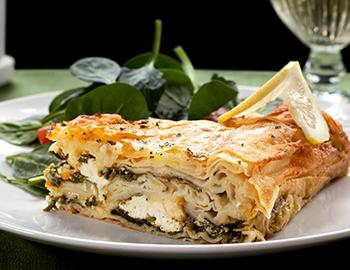 Spanakopita pie with spinach and feta