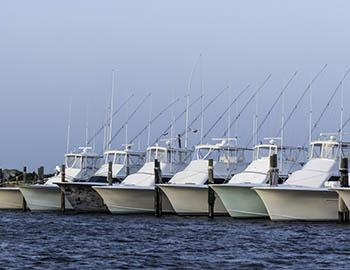 Charter fishing boats lined up