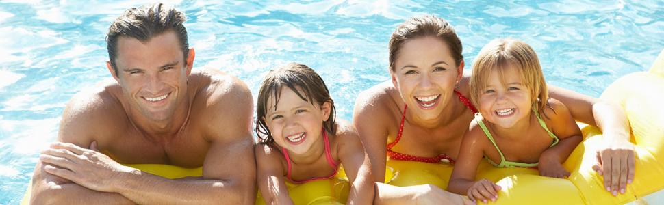Family on a yellow float in a pool