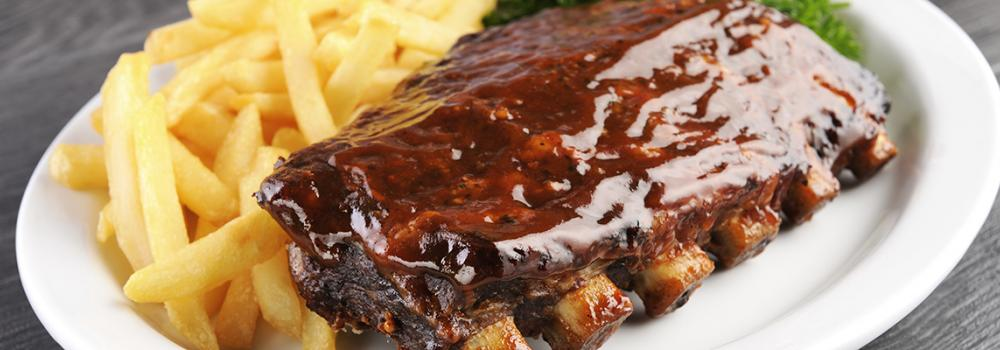BBQ Rib Rack and French Fries