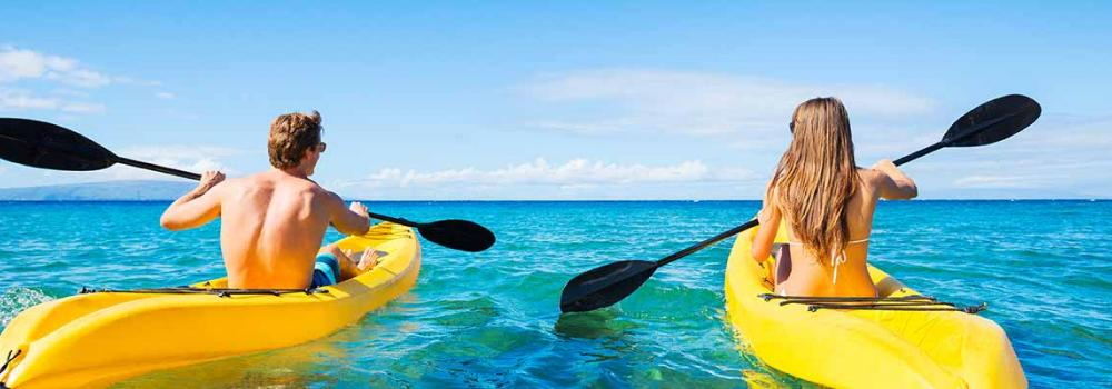 Kayaking in beautiful clear water